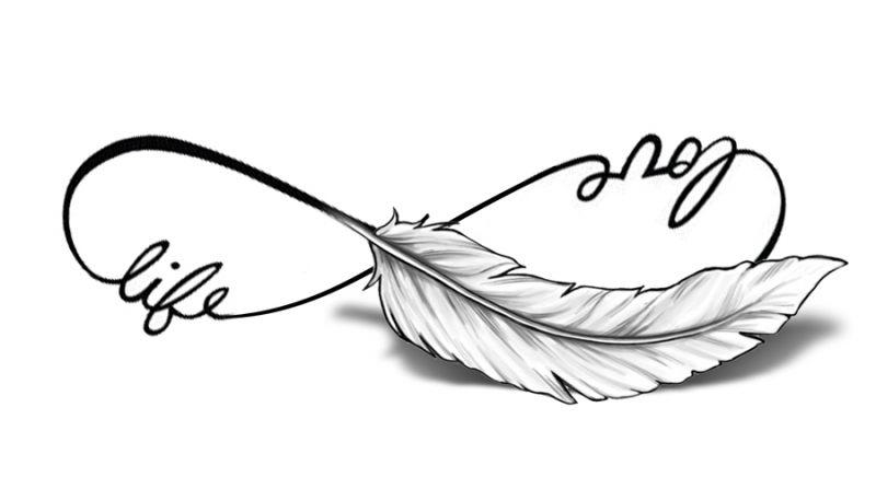 Love Life Feather Infinity Tattoo Pictures To Pin On