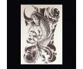 XL Tattoos Dieren zwart/wit tattoo voorbeeld Dieren 090 Koi Karper met Lotusbloem
