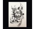 XL Tattoos Zwartwit tattoo voorbeeld Boosaardig 091 Devil Grijstinten