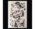 XL Tattoos Zwartwit tattoo voorbeeld Boosaardig 092 Devil met Chinese Tekens