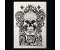 XL Tattoos Zwartwit tattoo voorbeeld Boosaardig 128 Skull met Horens