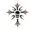 Skulls Zwartwit tattoo voorbeeld Kruis doodshoofd