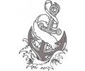 Overige tattoo voorbeeld anker in water