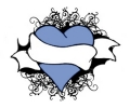 Hartjes tattoo voorbeeld Blauw hartje