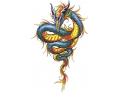 Draken tattoo voorbeeld Draak Blauw met Geel