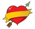Hartjes tattoo voorbeeld Hartje met Gele Banner