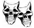 Skulls Zwartwit tattoo voorbeeld Lachende Skulls