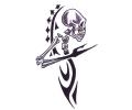 Skulls Zwartwit tattoo voorbeeld Skull Zijkant Tribal