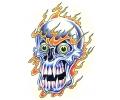 Skulls Kleur tattoo voorbeeld Skull on fire