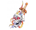 Skulls Kleur tattoo voorbeeld Skull met Mes