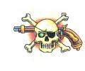 Skulls Kleur tattoo voorbeeld Skull Pistool