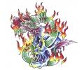 Skulls Kleur tattoo voorbeeld Skull met Draak 3