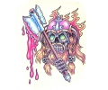 Skulls Kleur tattoo voorbeeld Skull met Bijl