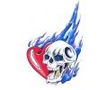 Skulls Kleur tattoo voorbeeld Skull met Hartje