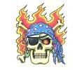 Skulls Kleur tattoo voorbeeld Skull Piraat Vlammen