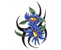 Bloemen tattoo voorbeeld Tribal Bloemen Blauw