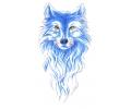 Roofdieren tattoo voorbeeld Wolf Blauw