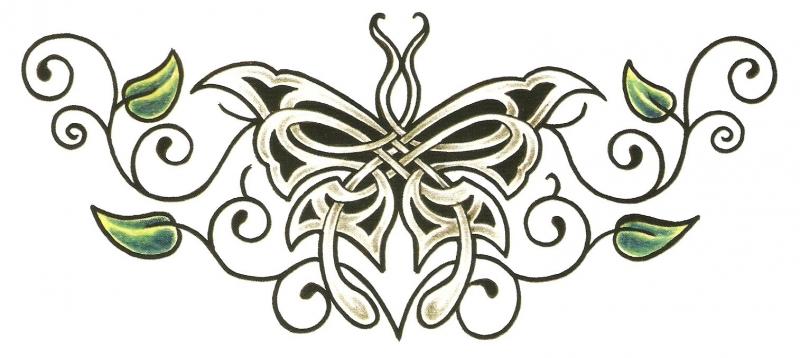 Keltische Vlinder Onderrug Tattoo