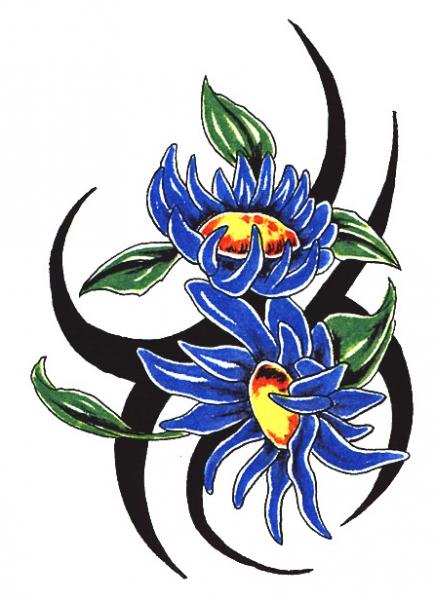 Tribal Bloemen Blauw