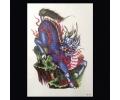 XL Tattoos Boosaardig kleur tattoo voorbeeld Boosaardig 104 Draak Blauw