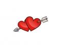 Liefde / Valentijn tattoo voorbeeld Hartjes met pijl midden