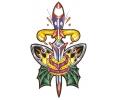 Wapens tattoo voorbeeld Amerikaanse Dolk met Bom