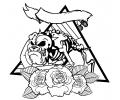 Dieren tattoo voorbeeld Bulldog met Rozen