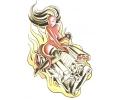 Pin-ups / Naakt (18+) tattoo voorbeeld Dame op Motorblok