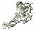 Skulls Zwartwit tattoo voorbeeld Death Rider