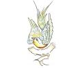 Overige Vogels tattoo voorbeeld Engel Spreeuw met Banner