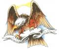 Vlammen & Vuur tattoo voorbeeld Fireclaw Eagle met Banner