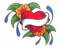 Hartjes tattoo voorbeeld Hart met Bloem en Banner