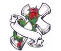 Religieus/Spiritueel tattoo voorbeeld Kruis met Banner