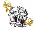 Skulls Kleur tattoo voorbeeld Laugh Now - Cry Later