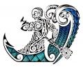 Maori tattoo voorbeeld Maori Schipper in Boot