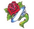 Roos tattoo voorbeeld Roos met Banner