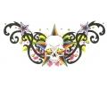 Onderrug Tattoos tattoo voorbeeld Skull en Kleuren Onderrug Tattoo