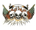 Skulls Kleur tattoo voorbeeld Skulls met Amerikaanse Vlag