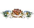 Zwaluwen tattoo voorbeeld Vogels met Roos en Banner