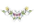 Onderrug Tattoos tattoo voorbeeld Vogels met Bloemen Tattoo