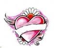 Hartjes tattoo voorbeeld Hart met bloem
