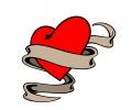 Liefde / Valentijn tattoo voorbeeld Hartje met Banner