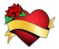 Liefde / Valentijn tattoo voorbeeld Hartje met Banner 2