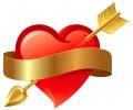 Liefde / Valentijn tattoo voorbeeld Hartje met Banner 3