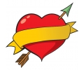 Nieuw!!! Plaktattoos tattoo voorbeeld Hartje met Gele Banner
