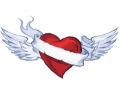 Liefde / Valentijn tattoo voorbeeld Hartje met vleugels
