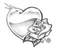 Roos tattoo voorbeeld Hart roos