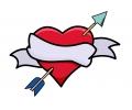 Liefde / Valentijn tattoo voorbeeld Hartje met pijl midden 3