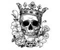 Skulls Zwartwit tattoo voorbeeld Koning Skull