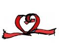 Liefde / Valentijn tattoo voorbeeld Hartje Roodlint